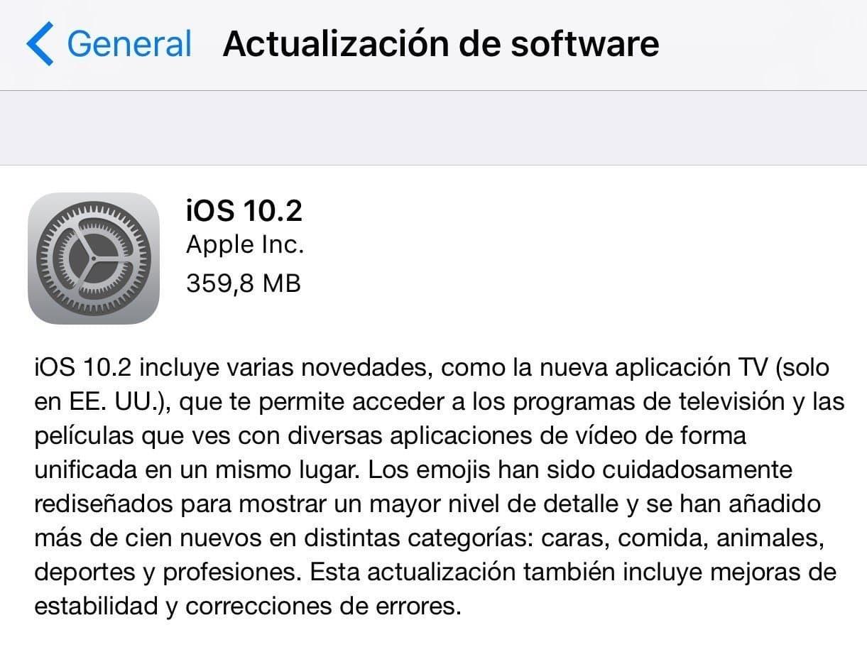 versión iOS